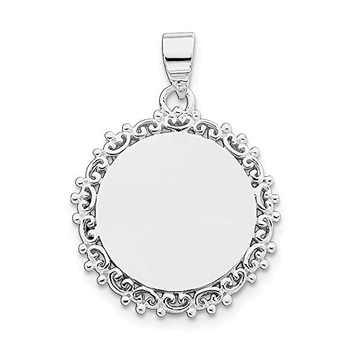 Sterling Silver Rhodium Plated Engravable Fancy Round Pendant