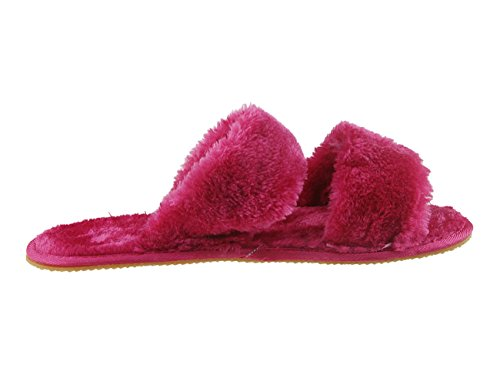 Flip Womens Flat Non Home Flop Soft On Lined Ladies On Open Slides Furry Spa Mule Plush Toe Faux Warm Holiberty Fur Slippers Indoor Sandals Fashion Slip Fleece Red slip Rose Girls Slide Mules Slipper Bedroom FqPg0qw