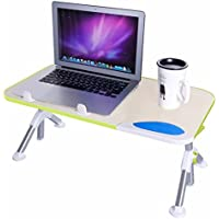 Dinger Adjustable Portable Standing Laptop Table (Beige/Green)