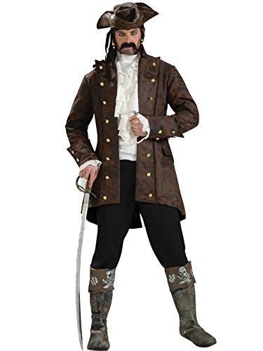 Forum Novelties Men's Buccaneer Jacket Pirate Costume, Brown, Standard