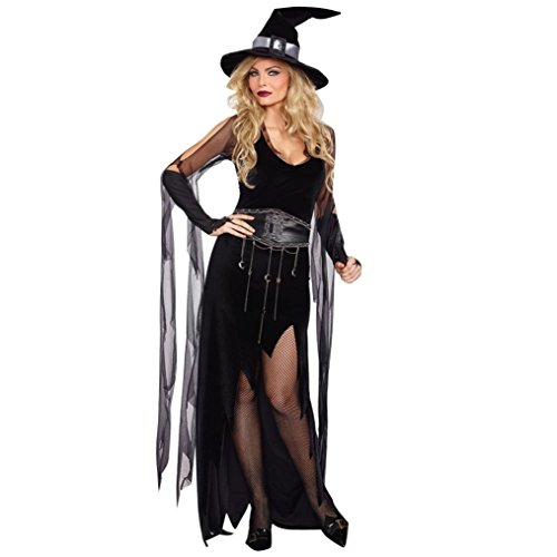 Bewitching Enchantress Costumes (Highpot Women Halloween Cosplay Costume Black Irregular Witch Dress Hat Set (M))