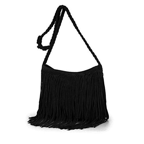 (Sun Kea Womens Hippie Suede Cross Body Bag Vintage Tassel Shoulder Sling Bag Satchel Black)