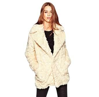 YuanDian Mujer Otoño E Invierno Ocio Medio Largo Solapa ancha Pelo Sintetico Abrigo Color Sólido Elegante Suave Cálido Piel Sintetica Chaquetas Cazadora Beige 3XL