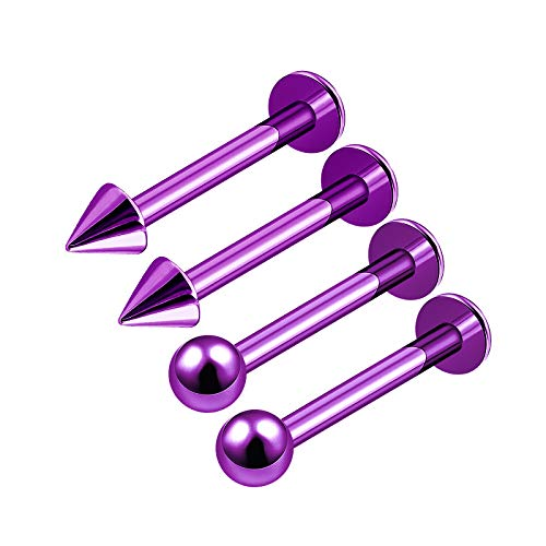 - 4Pcs Purple Anodized 16g 5/16 8mm labret Earrings Piercing Jewelry Tragus Medusa Lip Cartilage Vertical 3mm Ball Cone M4852