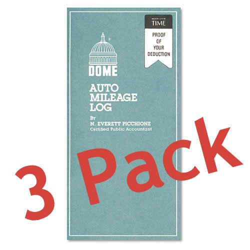 3 pack Auto Mileage Log, Undated, 3 1/4 x 6 1/4, 32 Forms. Made in the USA