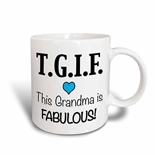 3dRose 202949_1 Tgif This Grandma Is Fabulous, Purple Mug, 11 oz, Blue