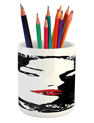 (Ambesonne Woman Pencil Pen Holder, Funny Seductive Woman Cool Silhouette with Feminine Style, Printed Ceramic Pencil Pen Holder for Desk Office Accessory, Black Vermilion Pale Blue and Green)
