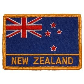 International World Countries Rectangle Flag Iron On Patch - New Zealand Applique (Shark New Zealand)