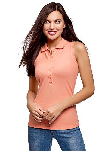 (oodji Ultra Women's Cotton Top in Pique Fabric, Pink, US 6 / EU 40 / M )