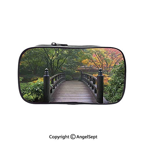 Two Big Pockets for Executive Fountain Pen,Wooden Bridge at Portland Japanese Garden Oregon in Foggy Autumnal Morning Park Green Coral 5.1inches,Multi-Functional 72 Slots Colored Pencil Case ()