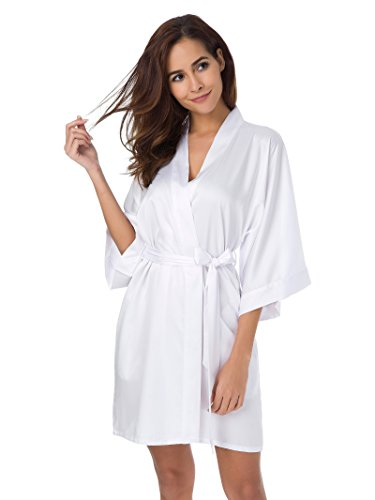 SIORO Women's Satin Robe,Silky Kimono Bathrobe for Bride Bridesmaids,Wedding Party Loungewear Short,White XL