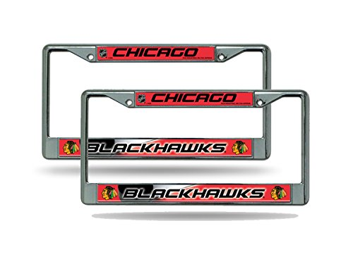 (Rico Chicago Blackhawks NHL Chrome Metal (2) License Plate Frame Set)