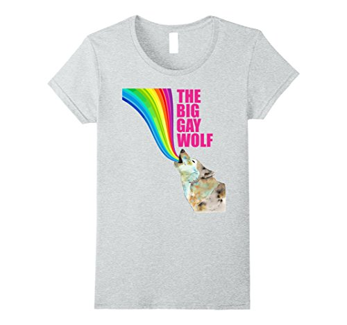 (Womens The Big Gay Wolf- Easy Halloween Costume 2017 Medium Heather)