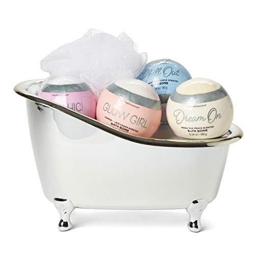 Tri-Coastal Design Tub of Bath Bombs Gift Set with Shower Pouf - Pomegranate Cassis, Peppermint Chamomile, Magnolia Peach & Lavender - Bath Peach Bomb
