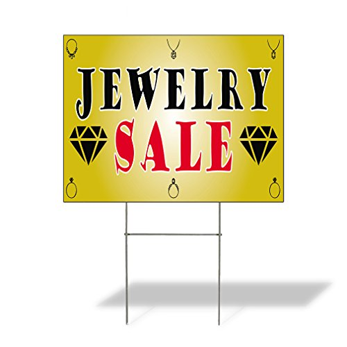 Plastic Weatherproof Yard Sign Jewelry Sale #1 Jewelry Jewelry Stores Yellow Auction for Sale Sign Multiple Quantities Available 18inx12in One Side Print One Sign from Sign Destination