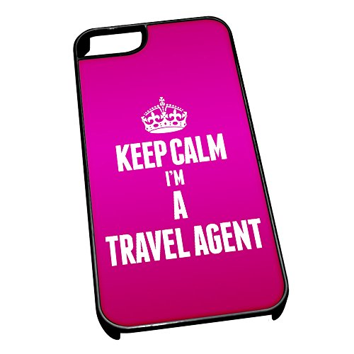 Nero cover per iPhone 5/5S 2698 rosa Keep Calm I m A Travel Agent
