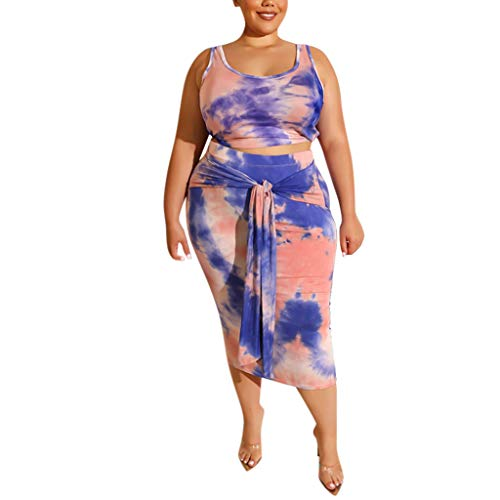 (DAGE Womens 2 Piece Midi Dress Sleeveless Print Tank Crop Top Skirts Multicolor Pint Rendering Set Plus Size Blue)