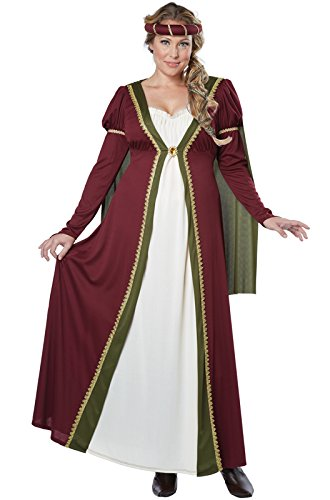 [California Costumes Women's Plus-Size California Costumes Medieval Maiden Renaissance Lady Long Gown Ren Faire Plus, Burgundy,] (Medieval Queen Plus Size Costumes)