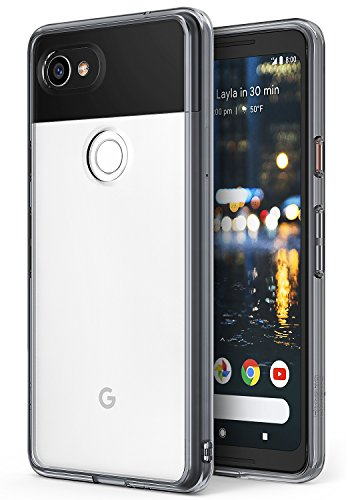 Ringke [Fusion] Compatible with Google Pixel 2 XL Case Crystal Minimalist Transparent PC Back TPU Bumper [Drop Protection] Scratch Resistant Natural Shape Protective Cover Pixel 2 XL - Smoke Black