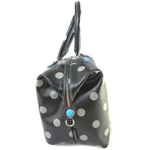 Bolso de cuero 3 en 1 'Gabs'de patente negro (guisantes)(l)- 43x37x2.5 cm.