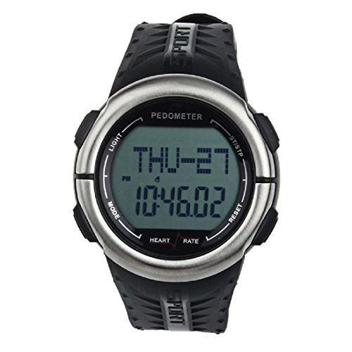 AutumnFall Waterproof Digital 3D Pedometer Calories Counter Pulsometer Heart Rate Monitor LED Sport Watch