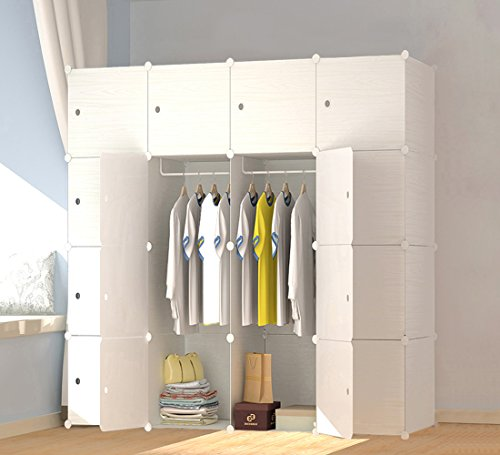 JOISCOPE MEGAFUTURE Wood Pattern Portable Wardrobe Closet for Hanging Clothes, Combination Armoire, Modular Cabinet for Space Saving, Ideal Storage Organizer Cube for Books, Toys, Towels (16-Cube)