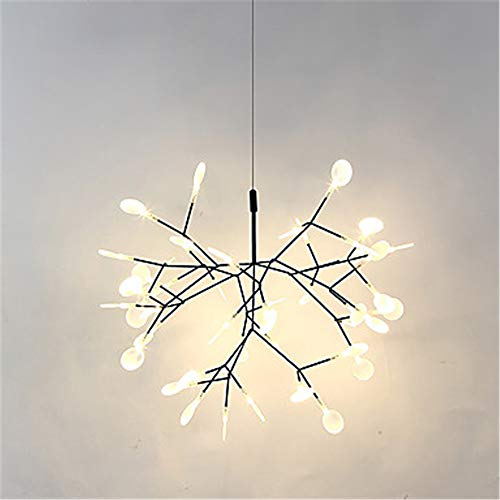 Black Branch Pendant Lights Inspired Firefly Ceiling Lamp Fixture Contemporary LED Plant Chandelier Lighting with 30 LEDs(Diameter 51cm,Warm White)