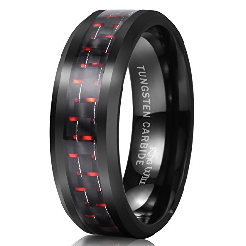 King Will Gentleman 8mm Black and Red Carbon Fiber Inlay Tungsten Carbide Ring Engagement Wedding Band(12)