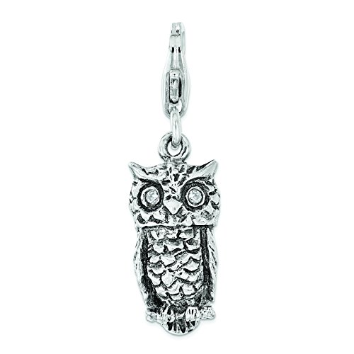 Amore La Vita Sterling Silver Antiqued with CZ 3D Owl Lobster Clasp Charm