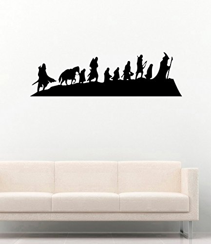 (Lord of the Rings Vinyl Wall Decals Silhouette Heroes Decor Stickers Vinyl Mural MK5214)