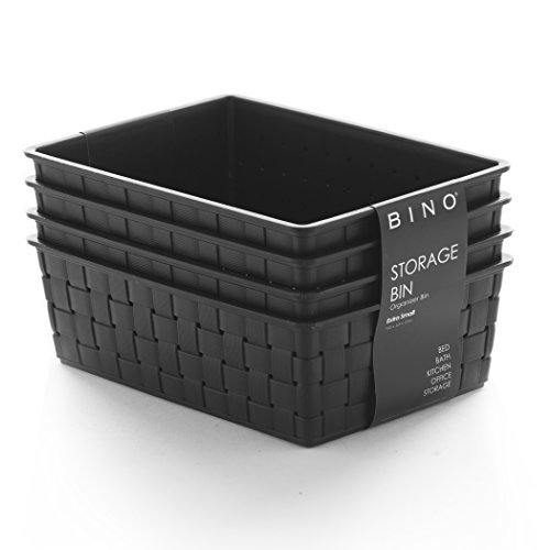 BINO Woven Plastic Storage Basket, X-Small – 4 PACK (Black)