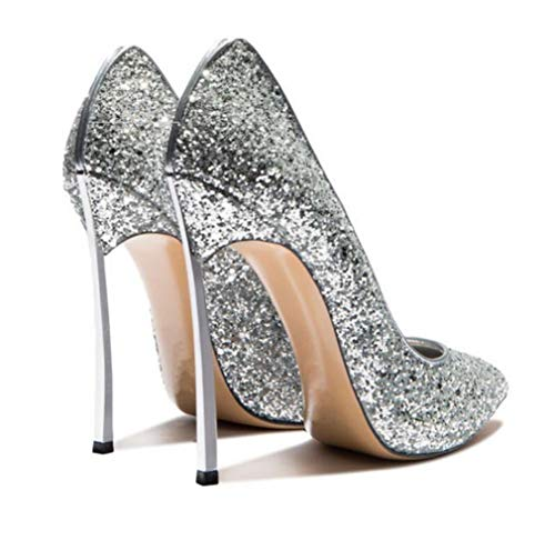2018 Boda Silver Altos Shiney Mujer Punta Aguja Zapatos De Tacones qxw64Sn