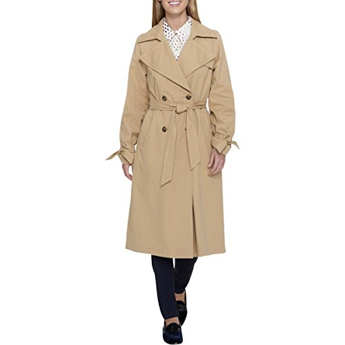 Tommy Hilfiger Womens Fall Double Breasted Trench Coat Tan S