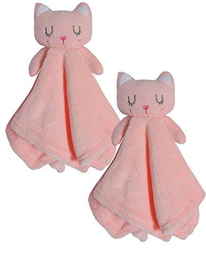 Bon Bebe Newborn Baby Huggybuddy Plush Security Blanket (2 Pack) Cat, Newborn