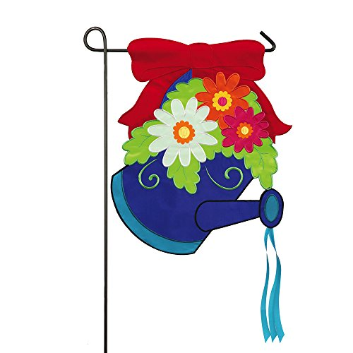 Red Bow and Flowers Wateringcan Applique Garden Flag