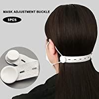 5 pcs Elastic Adjustable Face Mask Buckle Anti-slip Ear Extension Hook Mask Adjustment Button, Ear Pain Relieved (white)