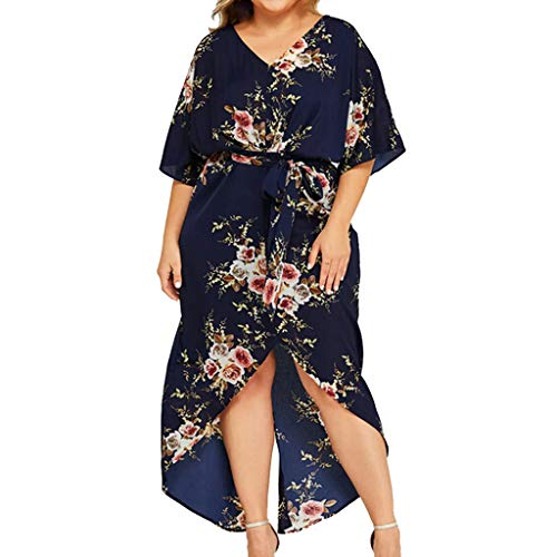 Mikilon Womens Plus Size V Neck Half Sleeve Floral Print Belted Midi Dress High Low Asymmetrical Navy