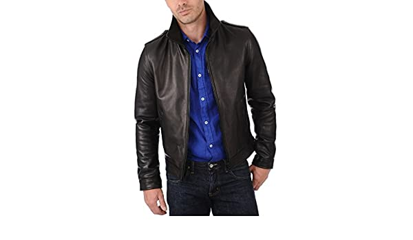 New Men Quilted Leather Jacket Soft Cow Leather Biker Bomber LFC744