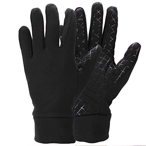 Men's Moisture Wicking Micro-fleece Running Sport Gloves - Color: Black  Size: Medium]()
