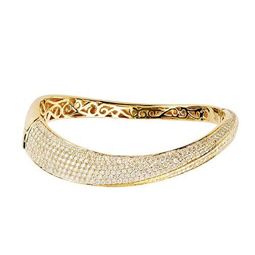 D'sire 18K Yellow Gold Diamond Bangle Bracelet TDW 4.055 ()