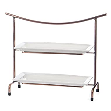 Skalny Rectangle Metal & Porcelain 2 Tier Server Stand, 22  x 8  x 17