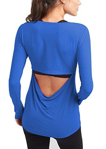 Bestisun Women's Basic Solid Color Keyhole Back Yoga Top Long Sleeve T-Shirt Soft Comfy Tunic Shirt Workout Sport Shirt Blue M