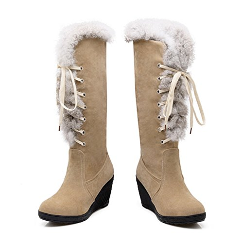 Beige Cinghie con da Zeppa Yiiquan Stivali Traverse Inverno Neve Foderato Caldo Donna Giapponese x788qgHv