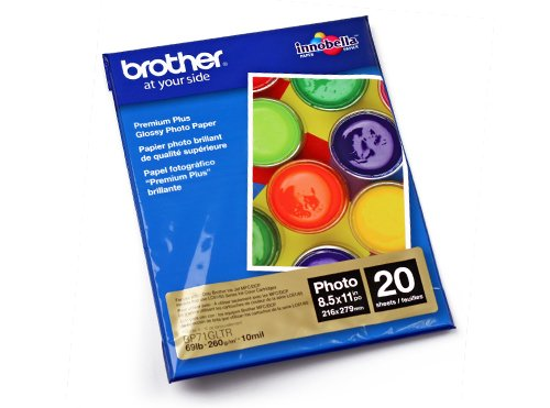 Brother Glossy Inkjet Paper, 8.5 x 11 Inches, 20 Sheets (BP71GLTR ) - Retail Packaging