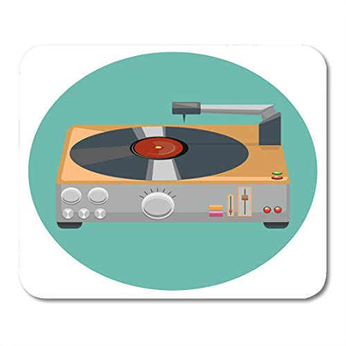Emvency Mouse Pads Deck White Audio Turntable Vinyl Player Gramophone The 80'S Stereo System in Flat Design Classic Disc Mouse Pad 9.5