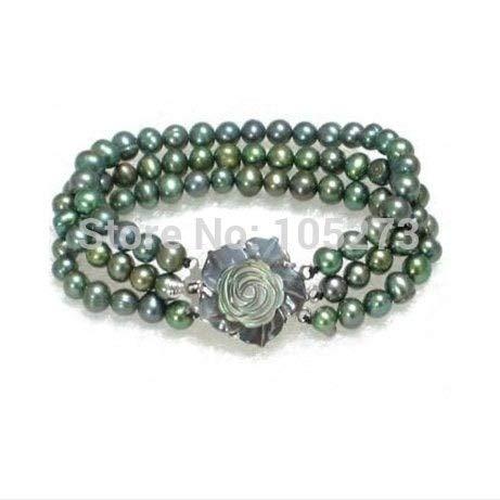 (Gabcus 3Rows Genuine Black Green Genuine Freshwater Pearl Sea Shell Flower Clasp Nice Pearl Bracelet Fashion Jewelry New)