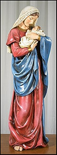 A Mother's Kiss Virgin Mary Infant Jesus Adoring Love 23 Inch Church Statue Figure (Church Statue)