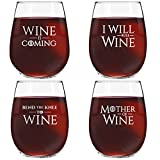 GOT Inspired Wine Quotes | Set of 4 Stemless Wine Glasses with 4 Unique GOT Themed Messages | Cute 15 oz. Wine Lovers Gift for Women | Dishwasher Safe | Made in USA