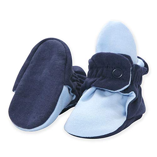 Zutano Lightweight Organic Cotton Baby Booties - Soft Sole Stay On Baby Shoes