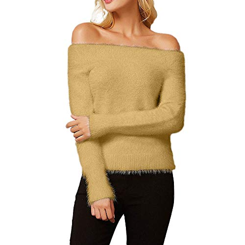 Mnyycxen Women Fashion Long Sleeve Off Shoulder Solid Knitted Sweater Pullover Tops Blouse Shirt (Free, Yellow) by Mnyycxen